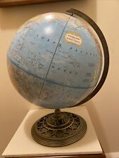 Vintage George Cram Quality Globe with Fancy Cast metal Base & Mariners Guide