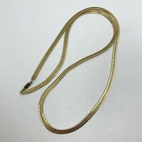 "Vintage Fancy Herringbone Pale Gold Tone Chain Necklace 30"""