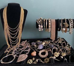 job lot costume jewellery used Gold Tones Necklaces Bracelets All Wearable
