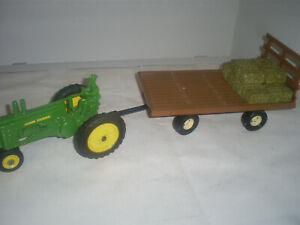 Vintage John Deere A & wagon with Bales
