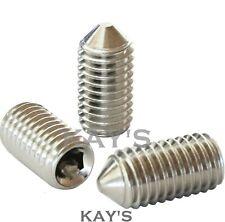 CONE POINT GRUB SCREWS ALLEN KEY SOCKET M2 M2.5 M3 M4 M5 A2 STAINLESS STEEL