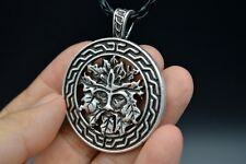 Valknut Large Green Man Norse Viking silver Pendant Necklace Man Figure Jewelry