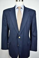 Brooks Brothers Solid Navy Blue 100% Wool Flannel Two Button Blazer Size: 42R