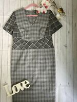 Autograph M&S Size 14 grey checked smart work office business career dress VGC
