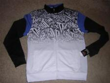 TAPOUT Men's Logo Graphic Zip-up Sweat Jacket - Black/Blue/White Sz LARGE NWT