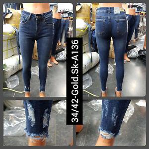 Women Bottam Ripped distressed High Waist Slim Denim Stretch Skinny Pants Jeans