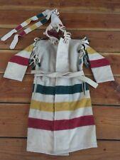 Vintage🔥 Woolrich Made In USA Full Wool Shaman Robe Cone Hood Beige Rasta Sz M