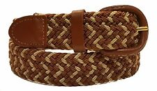 Stretch Belt Twin Color Genuine Leather Covered Buckle 3 Colors 6 Sizes