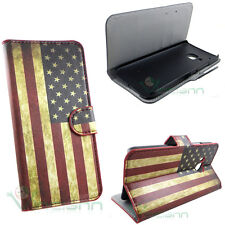 Custodia booklet BANDIERA americana USA per HTC One M9 cover STAND portafoglio
