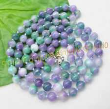 8/10mm Natural Purple Green Multi-Color Jade Round Gems Beads Necklaces 16-56''