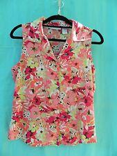 Jacyln Smith 100% Polyester Multi-Color Sleeveless Floral Print Blouse Size M