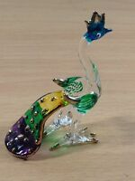TINY CRYSTAL PEACOCK HAND BLOWN CLEAR GLASS ART FIGURINE ANIMAL COLLECTION