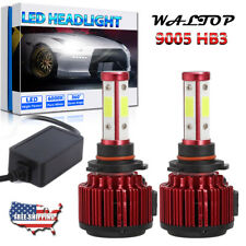 2x 4-Side 9005 HB3 LED Headlight High Low Beam Bulb 6000K 1800W 270000LM White