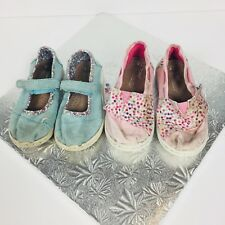 Toms Girls Lot of 2 Pairs Of Canvas Shoes Size 8 & 9 Pink Blue Casual Everyday