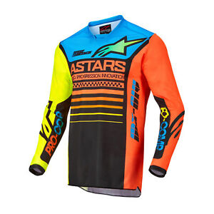 Alpinestars Racer Compass Mens Jersey Mx - Black Yellow Fluo Coral All Sizes