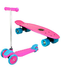 Kids Skateboards and Scooter for Beginners Girls Mini Kids Skate Deck Pink