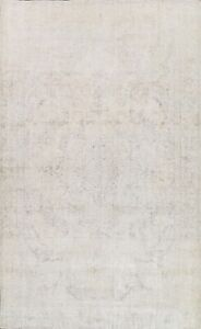 Vintage Evenly Low Pile Muted Tebriz Distressed Area Rug Hand-knotted Wool 9x12