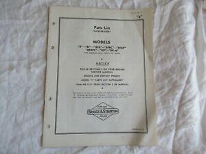 Briggs & Stratton 8 8F 8FB 8FBC 8P engine parts list manual catalog