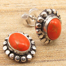 925 Silver Over Solid Copper, COPPER TURQUOISE Stone ROYAL Little Stud Earrings