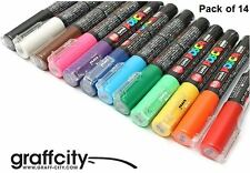 UNI POSCA POSTER PAINT MARKER PEN SET - PC-1M - 14 PACK
