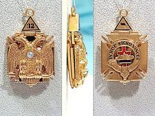 Solid 14K Yellow Gold & Diamond Scottish Rite Masonic Tri-Fold Fob