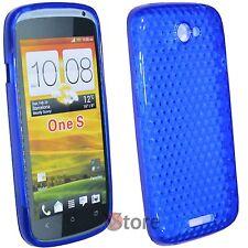 Cover Custodia Per HTC One S Silicone Gel TPU BLU + Pellicola Salva Schermo