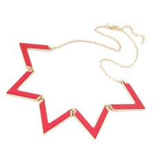 Neon Hot Pink Triangle Zig Zag Triangle Statement Necklace Premium Quality