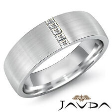 Diamante Baguette Hombre Medio Alianza 7mm Facinating Anillo 18Ct Oro Blanco