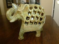 Soapstone Carved Elephant - Two Elephants - Mama with Baby inside - India