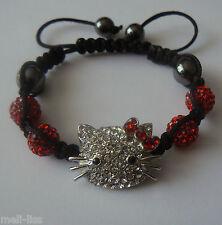 Hello Kitty Shamballa Red-Silver Czech Crystal Bracelet +Free pair of earrings