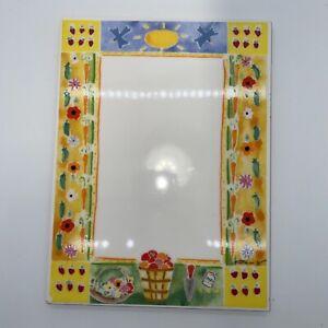 """garden Summer ceramic rectangular trivet 6""""x8"""" Signed"""