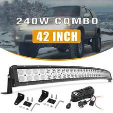 "240W 42"" Curved Spot Flood Combo LED Light Bar Driving SUV UTE  Offroad+ Wiring"