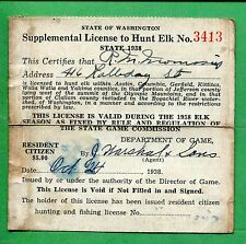 Washington 1938 Supplemental License to Hunt Elk - 727