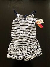 NWT Kate Mack Biscotti Navy White Striped Beach Romper Size 7 With Matching Hat
