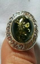 Baltic Green Amber Sterling Silver Ring size 7 (N to O) with certificate