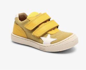 Bisgaard Leder Sneaker in banana  mit Klettverschluss Größe 22 -  32 NEU UNISEX