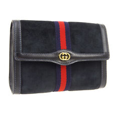 GUCCI Accessory Collection Clutch Hand Bag Pouch Navy Suede Vintage O03040