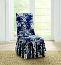 NEW Sure Fit Ballad Bouquet Waverly Indigo blue roses dining chair slipcover