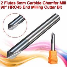 2 Flute Carbide 6mm Dia Chamfer Mill 90° HRC45 End Milling Cutter Router Bit Set