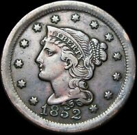 1852 Braided Hair Large Cent Penny  ---- Type Coin  ---- #K256