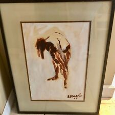 "ORIGINAL EUGENE MASSIN ""WOMAN"" SIGNED FRAMED LISTED ARTIST 1964 RARE 19X27"""