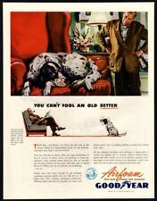 1944 GOODYEAR Airfoam - Cute Puppy Dog Steals Owner's Spot On Chair VINTAGE AD
