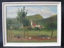 Poules devant un village du Jura. Deluz dans le Doubs. Signée J M Thony