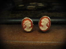 Vintage Oval Cameo Gold Plated Clip-On  Earrings