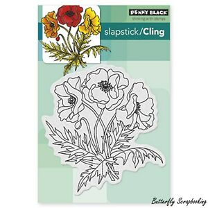 Poppy Flowers Cling Style Unmounted Rubber Stamp PENNY BLACK NEW 40-311 New