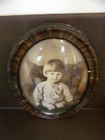 Vintage Oval Frame Convex Bubble Glass Young Child