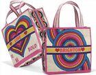 Brighton RAINBOW BRIGHT Canvas Tote Beach Shopping Gym Bag Purse NWT RT $125 NIP