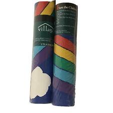 2 VTG 5 Yard Rolls Rainbow Prepasted Wallpaper Border 1995 NOS by Village Retro