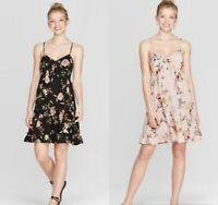 Women's Floral Print V-Neck Strappy Tie Front Babydoll Dress - Xhilaration - NWT