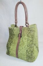 PUNTOTRES Green  LEATHER FEEDBAG TOTE in a Snakeskin  EMBOSSED PATTERN